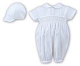 5be1c773a Sarah Louise 002200- Baby Boys White Romper And Cap