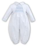 1cbb1b49b Sarah Louise 002219 Baby Boys Long Sleeved Romper- White & Blue